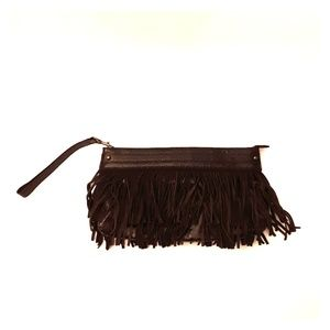 Express faux suede leather fringe clutch